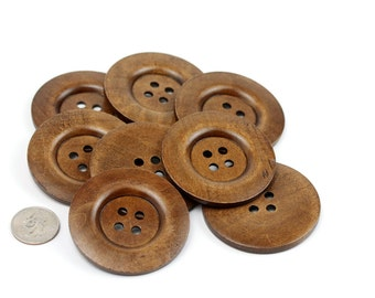 4 pcs Huge Medium Brown Wood Buttons 60mm 6cm 2.375 inches - 4 holes Big Jumbo
