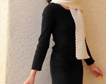 Aviator Scarf - SALE offwhite wide crocheted wool scarf, handmade men's accessory, cream ecru ivory natural fiber neckwarmer, clearance