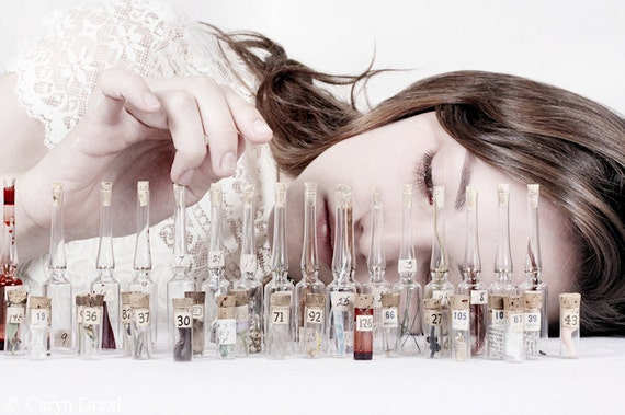 The Memory Collector - Walk Down Memory Lane FREE SHIPPING Surreal Photo Print Vials Keepsakes Girl White Bottles Momento Portrait Wall Art