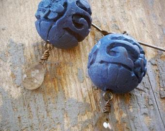 deep blue cinnabar & grey labradorite oriental lantern earrings. royal blue chinese floral cinnabar on oxidized sterling silver by val b.