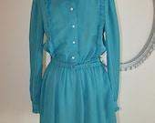 Sheer Vintage 70s Turquoise Pinstripe Ruffled Mini Shirt Dress