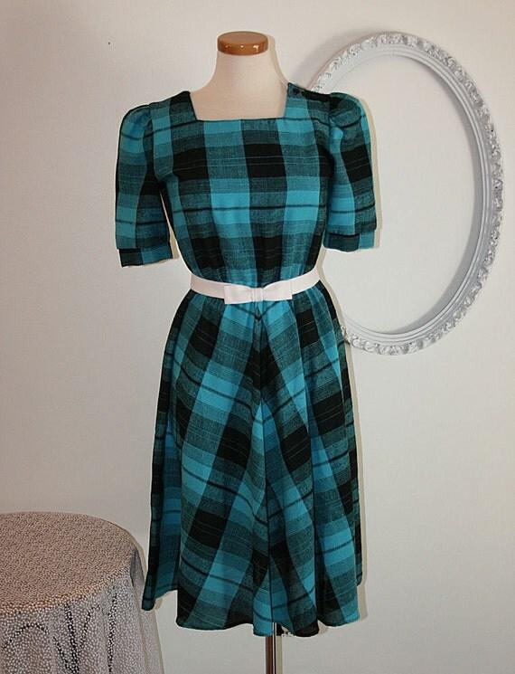 Pretty Vintage Teal and Black Plaid Dress ON SALE