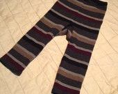 Cashmere, Silk, and Merino Wool Striped Longies, size Medium, 6-18 months