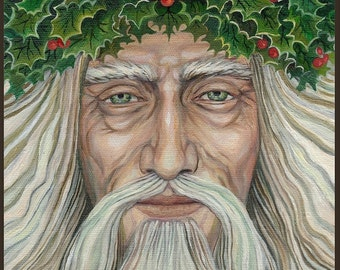 Holly King ATC ACEO Altar Art Mini Fine Art Print Pagan Mythology Bohemian Yule Winter Solstice Goddess