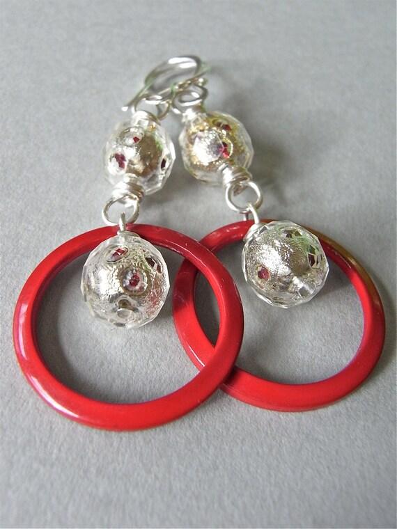 On Sale - Earrings - sterling silver, vintage lucite, enameled metal - Geometrica