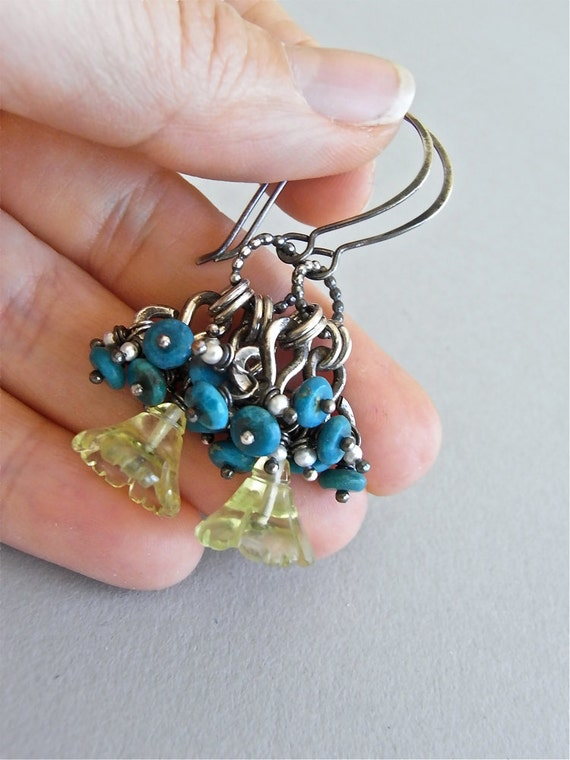 On Sale - Earrings - sterling silver, oxidised, lemon quartz, seed pearls, azurite, gemstone - Here Comes the Sun