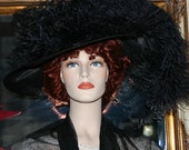 "Kentucky Derby Hat Edwardian Hat Titanic Tea Hat Downton Abbey Hat Ascot Hat ""Run for the Roses"" Black Tea Hat"
