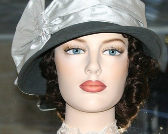 Cloche Hat Downton Abbey Hat Gatsby Hat Church Hat Flapper Hat Gray & Silver Hat Roaring Twenties - Josephine