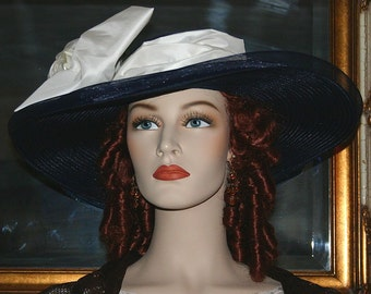 Edwardian Hat Ascot Hat Kentucky Derby Hat Tea Party Hat Titanic Hat Somewhere in Time Hat - Titanic - Wide Brim Hat