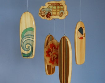 Baby Mobile Surfboards - Woody Surf Boards and Car - Surf or Beach Baby Nursery