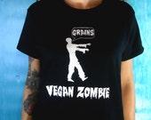 Zombie T-Shirt  Black Vegan  Womens Tunic Fashion Screenprinted Clothing  Horror Inspired Graphic
