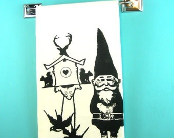 Cuckoo Clock Gnome Kitchen Towel gnomes gifts tea towels retro kitchen cute cottage home decor scandinavian designs