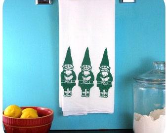 Kitchen Towel Gnome Green Tea Towel screen print retro kitchen Indie Housewares Cute Printed Towels Garden Gifts Wholesale