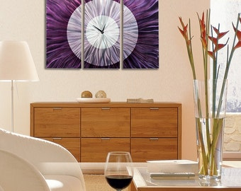 Abstract Clock - Purple Metal Contemporary Functional Art - Handcrafted Timepiece - 3 Piece Modern Timekeeper - Noble Spell by Jon Allen