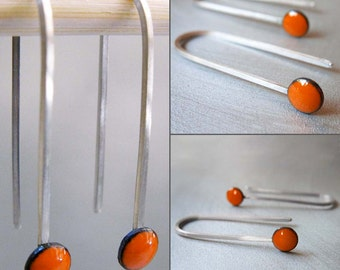 MicroDot Enamel Earrings, Tangerine Orange Kiln-fired Glass Enamel and Sterling Silver