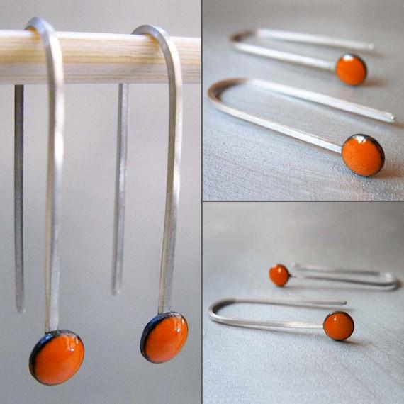MicroDot Enamel Earrings, Tangerine Orange Kiln-fired Glass Enamel and Sterling Silver