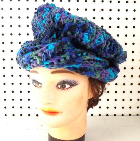 Royal Blue Crochet Hat Womens Hat, Crochet Beanie Hat, Royal Blue Hat, Peacock Hat, Olive Green Hat, Turquoise Hat, Blue Hat Beanie, CAROLYN