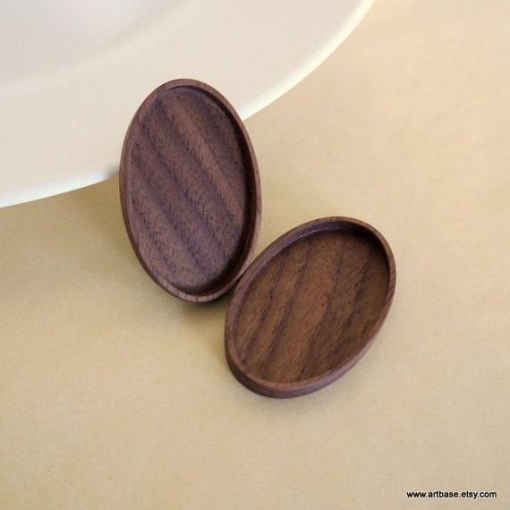 Brooch Blank - Pendant Setting - Wood Bezel Cup - Handmade by Artbase - Walnut  - Oval - 28x46 mm - (C4-W) - Set of 2