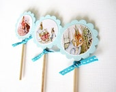 Peter Rabbit Cupcake Toppers in blue with ribbon T009 -- Set of 12