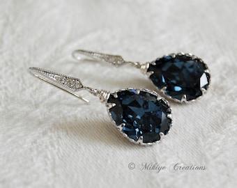 Wedding Drop Earrings, Something Blue, Swarovski Crystal Petite Drop Earrings -Sparkling Drops In Dark Blue