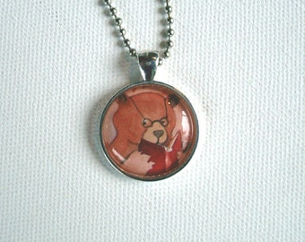 Bear Reading - Round Pendant - All Jewelry Ships for FREE in the USA