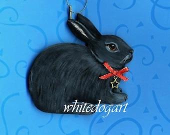 Handpainted Black Rabbit Christmas Ornament