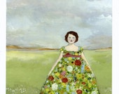limited edition giclee print - rebecca wore a dress of wildflowers -  giclee art print of original oil painting