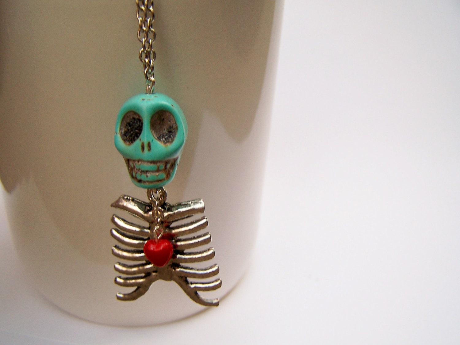 skull rib cage necklace skeleton charm necklace by