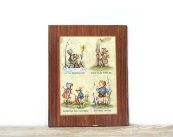 Vintage Hummel Wall Plaque, Wood Decoupage Wall Hanging