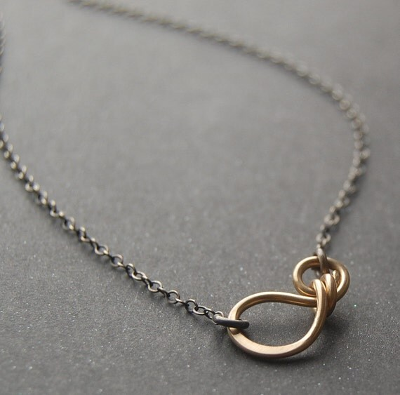 Music Necklace - Yellow Gold Filled and Oxidized Sterling Silver