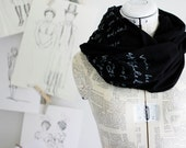 Mr. Darcy Proposal scarf.  black and silver.  Jane Austen