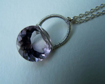 Violet Pink Amethyst solitaire, texture cable chain necklace