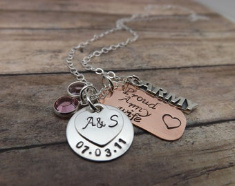 Personalized necklace-military necklace-army necklace-Hand Stamped jewelry-military wife-mom-friend-girlfriend with dog tag