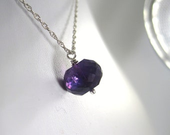Gorgeous Deep Purple Amethyst Gemstone Dangle Christian Necklace - Sterling Silver - Nobility Collection