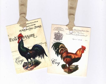 Farmhouse Tags , French Rooster Gift Tags , Country Chic , Shabby Roosters , Vintage Style by Bluebird Lane