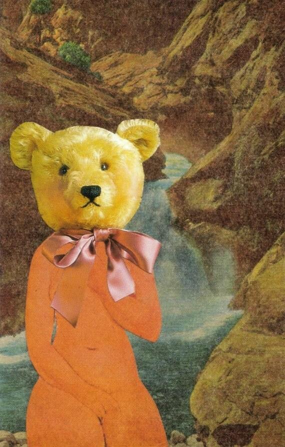Anthropomorphic Bear Art, Original Art, Surreal Animal Humor Artwork, Humorous Teddy Bear, Funny Bathroom Art, Paper Collage Postcard