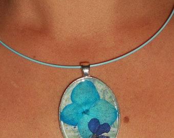 HYDRANGEA pressed  flower pendant
