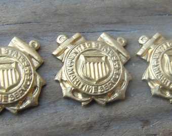 Brass WWII Maritime Service Stamping.  Very Small.  Military. Vintage. New Old Stock. Two.