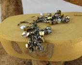 Heavy Metal gold silver bronze gunmetal finish Swarovski Crystal cascade french hook earrings