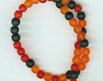 4mm Orange Red Black Sea Glass Round Spacer Beads Seaglass Bead