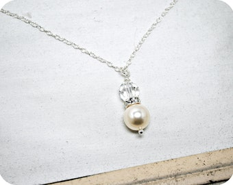 Pearl Bridal Necklace, Ivory Pearl Crystal Pendant Wedding Necklace, Bridesmaids Gifts, Sterling Silver, Rhinestone Necklace, Bridal Party