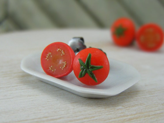 Tiny Tomato - Studs / Post Earrings - ON SALE