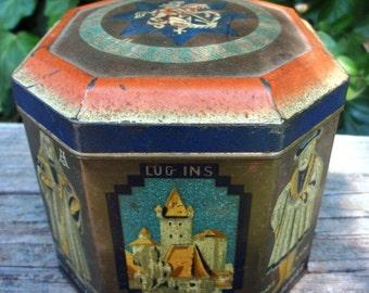 Sale Vintage German Haeberlein-Metzger Tin Blue Orange Cream 1930s epsteam