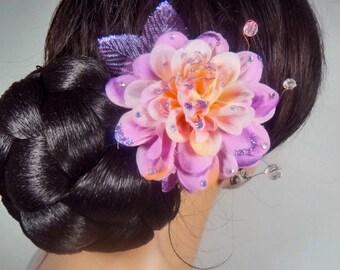 Beautiful Beaded Plum Purple Dahlia Mum Hair Flower Pin Hairpin Fascinator