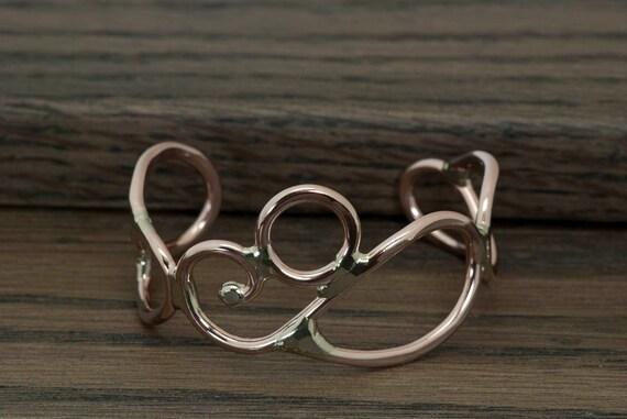 Mixed metal bracelet, cuff bracelet  copper, nickel silver