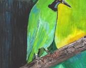 Golden Flea Bird - Original Watercolor - 8 x 10
