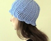 Crochet Hat - Light Purple Tulip Hat- Adult Small - Ready to Ship
