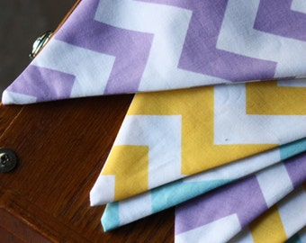 Purple, Aqua and Yellow Chevron Fabric Bunting, Prop, Decoration. Ready To Ship. Birthday Party Banner.