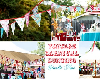 Set of TWO Carnival Themed Fabric Bunting Banners,  Vintage Circus, Designer's Choice.  Flag Garland for Kids Room, Weddings and Parties.