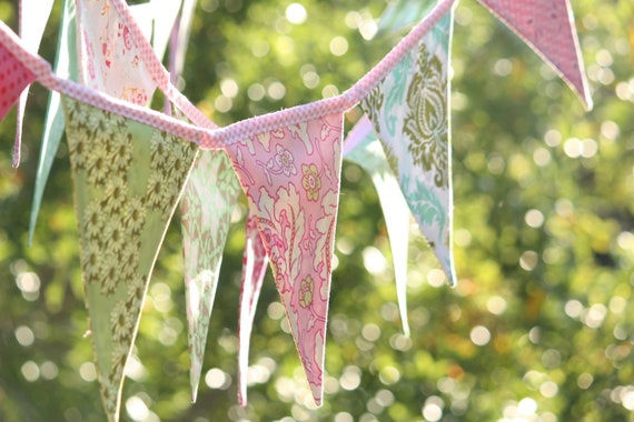 Fabric Bunting Banner Photo Prop, Baby Nursery  9 Flags Pinks & Greens, Designer's Choice. Wedding Bunting, Bridal Decor, Party Decor, Event